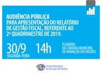 Audiência de Prestação de Contas do Município- Gestão Fiscal